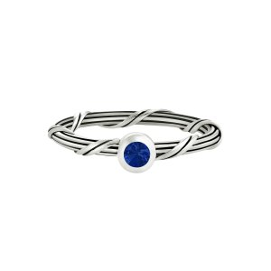 Ribbon and Reed Signature Romance Blue Sapphire Ring in sterling silver