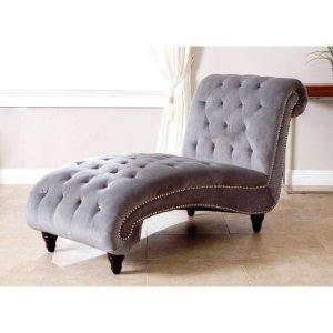 Tiffany Grey Velvet Chaise