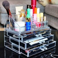 $15.99 Beauty Acrylic Clear Cosmetic Holder Large 3 Drawer Jewerly Chest or Make up Case Lipstick Liner Brush Holder Organizer