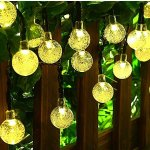 MagicLux Tech [21ft 30 Led] Solar Outdoor String Lights Globe\ Fairy Crystal Outside Hanging Lighting, 8 Mode (Steady, Flash)