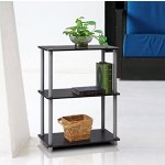Furinno 10024BK/GY Turn-N-Tube 3-Tier Compact Multipurpose Shelf Display Rack, Black/Grey