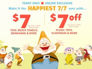 $7 Deals & $7 Off Happy 7/7 Sale @ disneystore