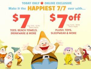 $7 Deals & $7 Off Happy 7/7 Sale @ disneystore