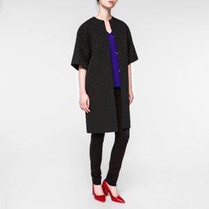 Paul Smith Women's Black 'Chain-Link Heart' Jacquard Coat