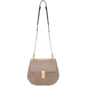 Chloé: Grey Medium Drew Saddle Bag | SSENSE