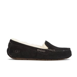 UGG Women's Ansley Moccasin Suede Slippers - Black - Free UK Delivery over £50