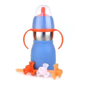 $14.78 Kid Basix Safe Sippy Cup 2, The Stainless Steel 2-in-1 Sippy Cup and Straw Bottle, Blue, 11oz
