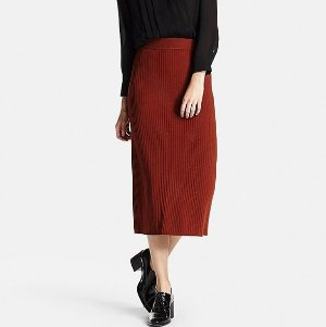 $15 off $150, $30 off $200, $50 off $300 WOMEN MERINO BLEND RIBBED SKIRT @ Uniqlo