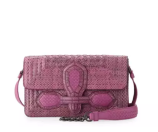Bottega Veneta Watersnake Small Flap Shoulder Bag, Peony Pink