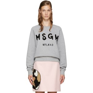 MSGM: Grey Painted Logo Sweatshirt