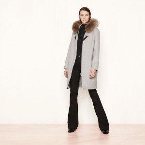 GRAFA Mid-length coat with fur detailing - Coats & Jackets - Maje.com