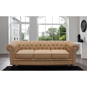 Classic Large Brown Tufted Sofa - Sofamania