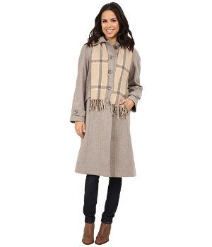 London Fog Women's Car Coat with Scarf