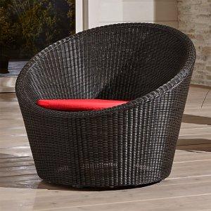 Calypso Mocha Swivel Lounge Chair with Sunbrella ® Ribbon Red Chair Cushion Sunbrella: Ribbon Red   Crate and Barrel