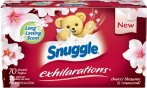 $2.26 Snuggle Exhilarations Fabric Softener Dryer Sheets, Cherry Blossom and Rosewood, 70 Count