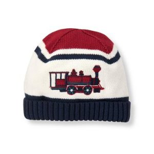 Baby Boy Deep Crimson Train Sweater Beanie at JanieandJack