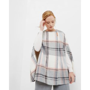 Oversized checked cape -