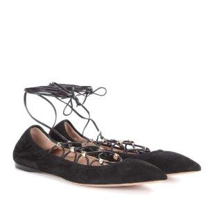 VALENTINO Rockstud lace-up suede ballerinas