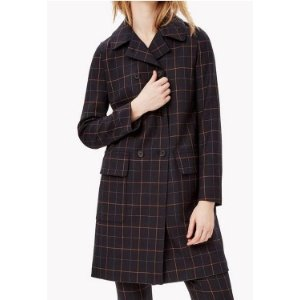 Wool Check Double-Breasted Coat