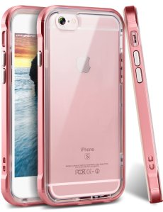 Ansiwee Soft Rubber TPU Bumper Case for Apple iPhone 6s/6,Rose Gold