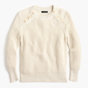 Textured Cotton Sweater With Anchor Buttons : Women's Sweaters | J.Crew