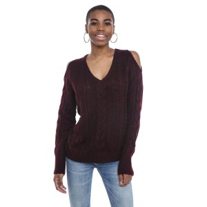John & Jenn Cold Shoulder Cable Knit Sweater | South Moon Under