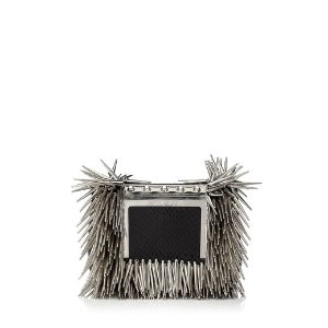 Black Mix Glossy Snakeskin with Rock Metal Fringes Clutch Bag with Chain Strap