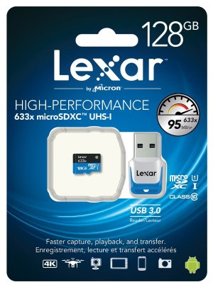 Lexar High-Performance U1 633x 128GB microSDXC w/USB 3.0 Reader