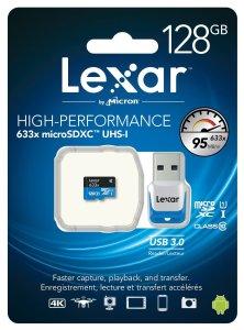 Lexar High-Performance U1 633x 128GB microSDXC w/USB 3.0 Reader