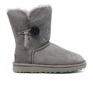UGG Women's Bailey Button II Sheepskin Boots - Grey - FREE UK Delivery