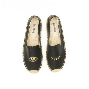 Soludos Jason Polan Leather Wink Embroidered Platform Smoking Slipper Espadrille in Black - Soludos Espadrilles