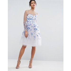 Chi Chi London Tulle Midi Dress with Longsleeves and Embroidery