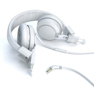 JLab INTRO Premium On-Ear Headphones, with Universal Mic (White)