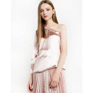 Pale Pink Satin One Shoulder Blouse
