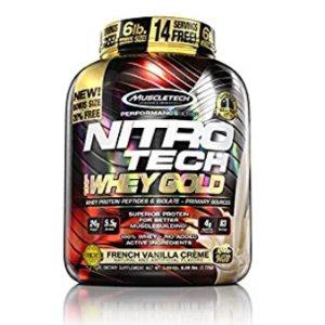 MuscleTech Nitro Tech 100% Whey Gold Muscle Building Powder, Vanilla, 6 Pound