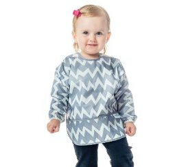 Bumkins Waterproof Sleeved Bib, Gray Chevron, 6-24 Months