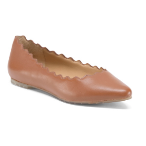 Scalloped Leather Ballet Flats - Shoes - T.J.Maxx