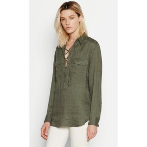 Women's KNOX LACE UP LINEN SHIRT made of Cotton | Women's Private Sale by Equipment