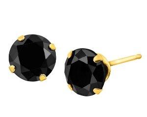 10K Gold 6 mm Black Cubic Zirconia Stud Earrings