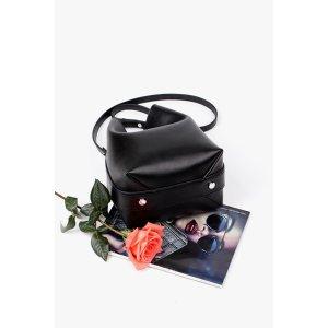 Metal Bar Crossbody Bucket Bag