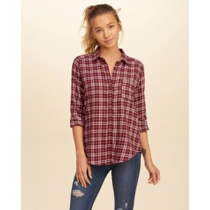 Girls Button Front Plaid Shirt | Girls Clearance | HollisterCo.com