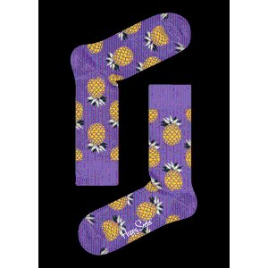 Purple Cotton Crew Sock: Pineapple style