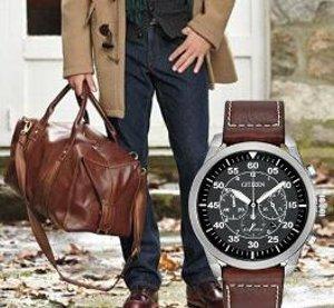 Citizen Avion Black Dial Brown Leather Quartz mens Watch CA4210-24E