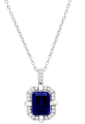 1 1/6 ct Blue & White Sapphire Frame Pendant