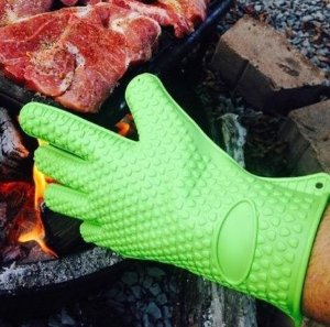 OXA Silicone Heat Resistant BBQ Grill Oven Gloves for Cooking, Baking, Smoking & Potholder, Set of 2, Heat Resistant Up To 425 Degrees Fahrenheit