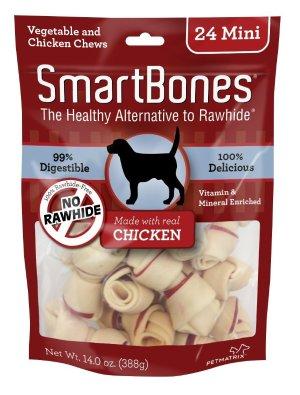 SmartBones迷你鸡肉味洁齿骨/狗零食24支袋装
