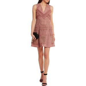 Embroidered honeycomb-mesh mini dress | Burberry | US | THE OUTNET