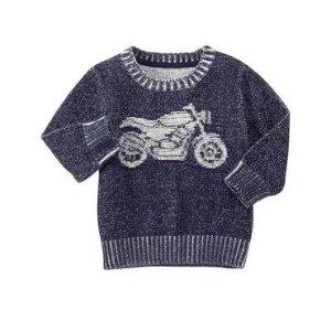 Toddler Boys Heather Navy Moto Sweater by Gymboree