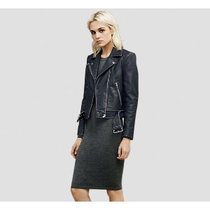 TOUGH GIRL BELTED LEATHER JACKET   Kenneth Cole