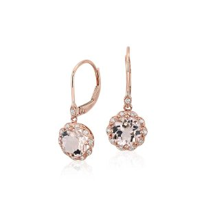 Morganite and Diamond Milgrain Halo Leverback Earrings in 14k Rose Gold (7mm) | Blue Nile